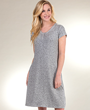 Plus Short Sleeve La Cera Rayon Blend Cozy Lounge Sweater Dress in Heather Gray