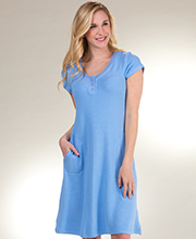Women's Cozy Lounge Short Sleeve La Cera Rayon Blend Plus Sweater Dress in Soft Blue