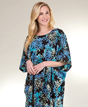 Bali Batik Rayon Short Sleeve One Size Caftan in Evening Hibiscus