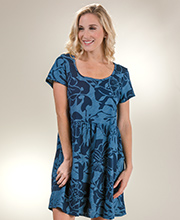 Cotton Short Sleeve Sun Moda by I Can Too Babydoll Dress in Panama Navy