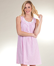 bfb79a0b6f Short Aria Cotton Knit Sleeveless Nightgown in Pink Ditsy