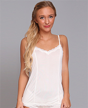 Linda Hartman 100% Silk Knits Camisole with Lace in Porcelain White