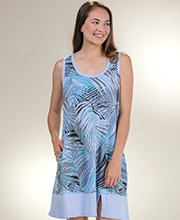 Women's Plus Cotton Dress - Sun Moda by I Can Too Tank Cover Up in Havana Blue