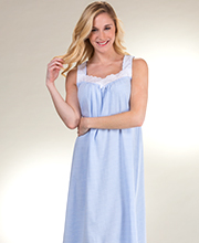 Carole Hochman Sleeveless Cotton Rayon Gown in Blue Stripe