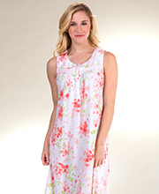 Aria Sleeveless Long Cotton Knit Nightgown in Peach Blossom
