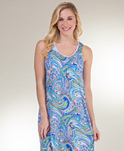 Sleeveless Ellen Tracy Long Rayon Nightgown in Abstract Wonder