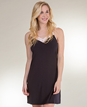 Sesoire Sleeveless Satin-Trimmed Modal Knit Chemise in Black