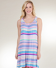 Sleeveless Ellen Tracy Rayon Knit Short Nightgown in Party Stripes