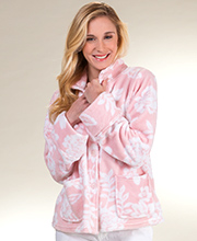 "La Cera ""Snuggle Fleece"" Mandarin Collar Bed Jacket - Pink Floral"