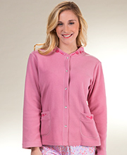 La Cera Feather Light Micro Fleece Snap Front Bed Jacket - Rose