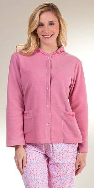 57f0410dc36a6 La Cera Feather Light Micro Fleece Snap Front Bed Jacket - Rose