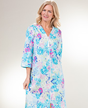 Plus Miss Elaine Zip Front Long 100% Cotton Robe in Turquoise Garden