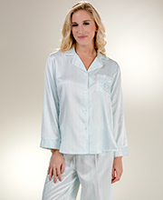 Brushed Back Satin Miss Elaine Pajamas in Blue Stripe