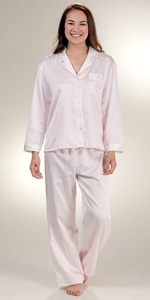 KayAnna Brushed Backed Satin Pajamas in Pink 9926f3e62