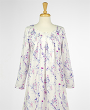 Brushed Back Satin Carole Hochman Short Nightgown in Twilight Floral