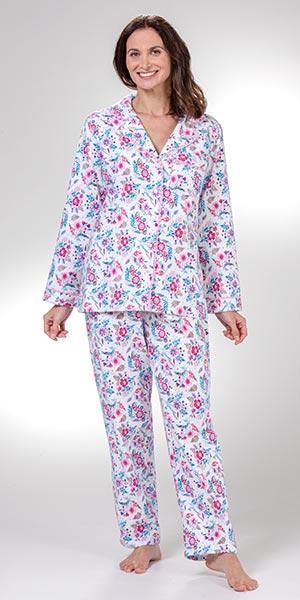 dc3930e7a0 La Cera 100% Cotton Flannel Pajama Set in Festive Bouquet