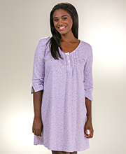 Carole Hochman Elbow Length Sleeves Cotton Knit Nightshirt in Lavender Ditsy