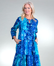 La Cera Long 100% Cotton 3/4 Sleeve Tiered Dress in Blue Nuance