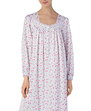 Brushed Back Satin - Eileen West Long Sleeve Nightgown in Floral Radiance