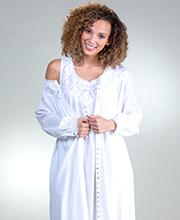 da398aff1028 Eileen West Sleeveless Nightgown and Robe Cotton Lawn Peignoir Set -  Cottage White