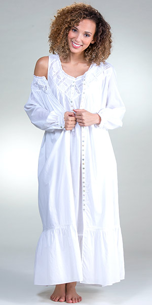 6a9c9241c10a Eileen West Sleeveless Nightgown and Robe Cotton Lawn Peignoir Set -  Cottage White