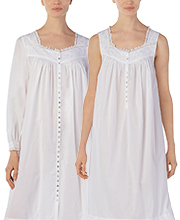 Peignoir Set by Eileen West - White Cotton Gown & Robe in Crescendo