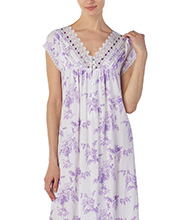 Cotton Modal Eileen West Cap Sleeve V-Neck Long Gown in Daydream Lilac