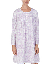 Nightgowns by Eileen West - Long Sleeve Cotton Knit in Lilac Love
