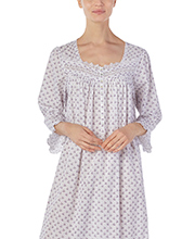 Eileen West 3/4 Sleeve Gown - Cotton Lawn Ballet Nightgown in Harvest Plumberry