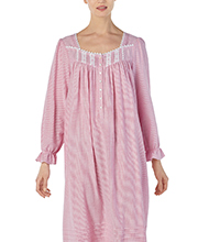 Long Sleeve Eileen West Cotton Rayon Long Nightgown in Ruby Stripe