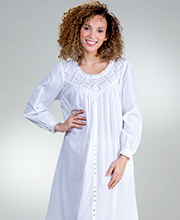Eileen West Cotton Lawn Button-Front Gown/Robe in Cottage White