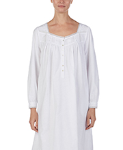 8a3e18515d Eileen West Nightgowns - Flannel Cotton Long Sleeve in Darling White