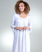 3/4 Sleeve Eileen West Cotton Lawn Nightgown in Harvest White