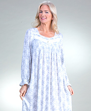Nightgowns by Eileen West - Long Sleeve Woven Rayon in Nocturne Floral