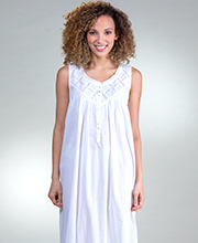 ab1238781b Cotton Lawn Gowns - Eileen West Sleeveless Long Nightgown in Cottage White