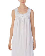 White Cotton Nightgowns - Long Eileen West Sleeveless Gown in Crescendo