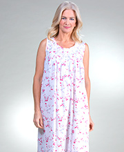 Eileen West Cotton Lawn Sleeveless Long Nightgown in Cottage Floral