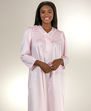 Smocked V-Neck Long Miss Elaine Brushed Back Satin Gown in Pink