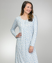 Long Sleeve Gowns - Aria Poly Rayon Knit Long Nightgown in Falling Blooms