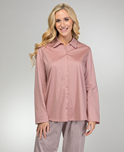 Cardigan Style Pajamas by Calida - Long Sleeve Cotton Knit Set in Vintage Rose