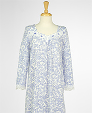 Carole Hochman Long Sleeve Cotton Knit Long Nightgown in Peri Floral