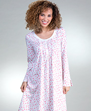 Carole Hochman Nightgowns - Cotton Knit Long Sleeve Mid in Posie Garden