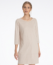 Calida Cotton Knit 3/4 Sleeve Sleep Shirt in Antique Blush