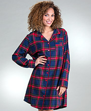 KayAnna Flannel Night Shirt - Long Sleeve Sleep Shirt in Cozy Plaid