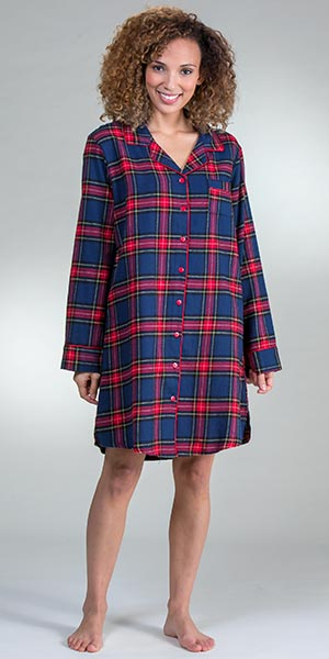 aedcef36cc KayAnna Flannel Night Shirt - Long Sleeve Sleep Shirt in Cozy Plaid