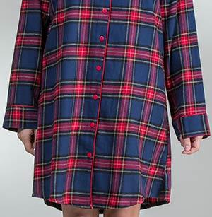 83a6942948 KayAnna Flannel Nightshirt - Long Sleeve Sleepshirt in Cozy Plaid