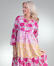 Cotton La Cera Dresses - Long 3/4 Sleeve Tiered Dress in Pink Sunshine