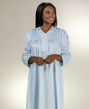 Long Brushed Back Satin by Miss Elaine - Smocked V-Neck in Blue