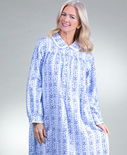 Peter Pan Collar Lanz Flannel Nightgowns in Snowflake Tyrolean