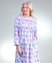 La Cera Flannel Pintucked Long Nightgown in Festive Bouquet
